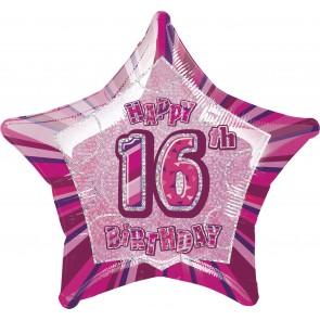 Age 16 Pink Glitz Foil Balloon