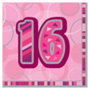 Age 16 Pink Glitz Paper Napkins