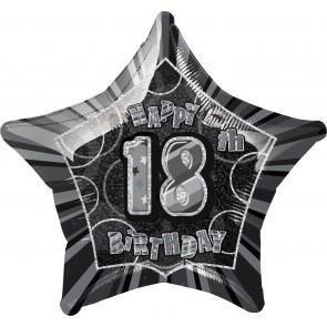 Age 18 Black & Silver Glitz Foil Balloon