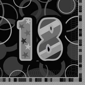 Age 18 Black & Silver Glitz Paper Napkins