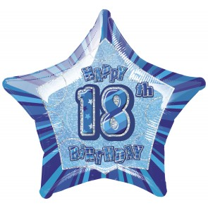 Age 18 Blue Glitz Foil Balloon