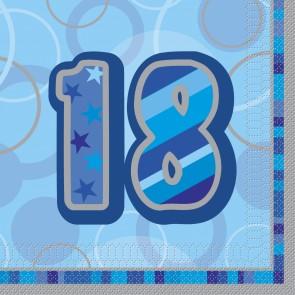 Age 18 Blue Glitz Paper Napkins