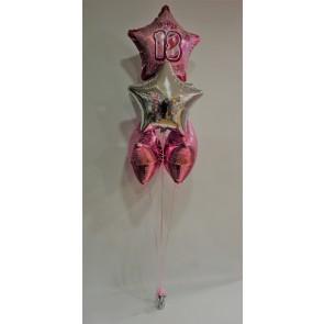 Age 18 Pink Glitz 5 Foil Star Bouquet