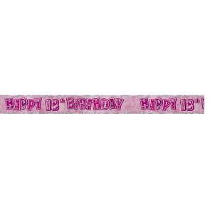 Age 18 Pink Glitz Banner