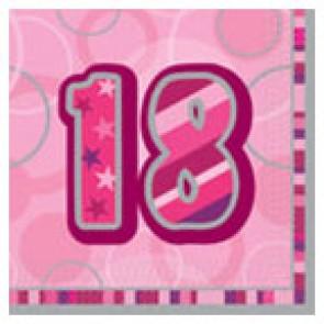 Age 18 Pink Glitz Paper Napkins