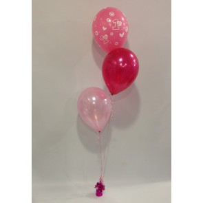 First Birthday Pale Pink and Hot Pink 3 Latex Staggered Bouquet