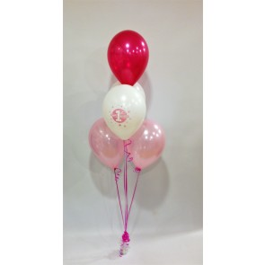1st Birthday Pink and White 5 Latex Bouquet