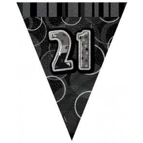 Age 21 Black and Silver Prism Pennant Banners