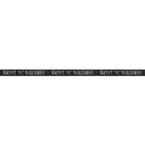 Age 21 Black & Silver Glitz Banner