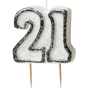 Age 21 Black & Silver Glitz Candle