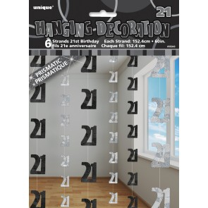 Age 21 Black & Silver Glitz Hanging Decorations