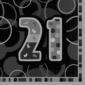 Age 21 Black & Silver Glitz Paper Napkins