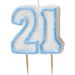 Age 21 Blue Glitz Candle