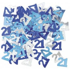 Age 21 Blue Glitz Confetti