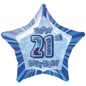 Age 21 Blue Glitz Foil Balloon