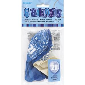 Age 21 Blue Glitz Latex Balloons