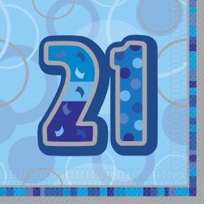 Age 21 Blue Glitz Paper Napkins