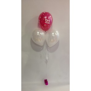 Age 21 Hot Pink & White 3 Latex Pyramid Bouquet