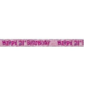 Age 21 Pink Glitz Banner