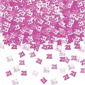 Age 21 Pink Glitz Confetti
