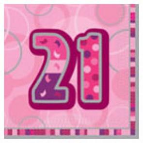 Age 21 Pink Glitz Paper Napkins