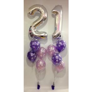 Age 21 Silver and Purple Balloon Burst