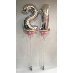 Large 21 Silver Numbers with Pale Pink Collars