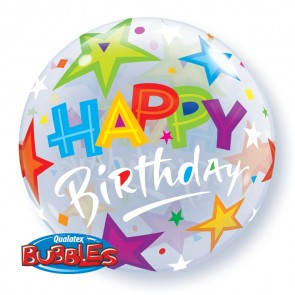 'Happy Birthday' Stars Bubble Balloon