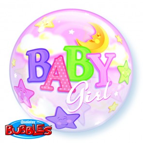 Baby Girl Moon and Stars Bubble Balloon