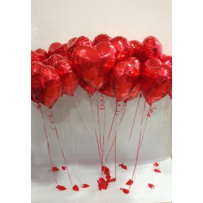 24 Red Loveheart Foil Balloons