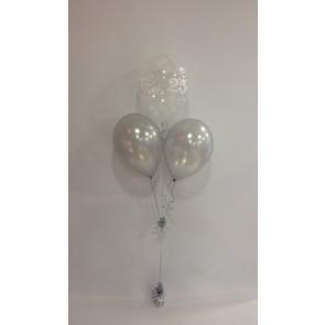 25th Anniversary Clear & Silver 3 Latex Pyramid Bouquet