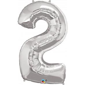 Number 2 Silver Super Shape Foil Balloon