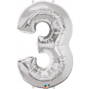 Number 3 Silver Super Shape Foil Balloon