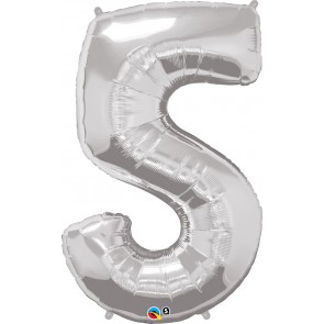 Number 5 Silver Super Shape Foil Balloon