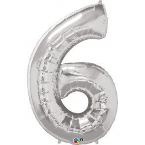Number 6 Silver Super Shape Foil Balloon