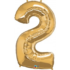 Number 2 Gold Super Shape Foil Balloon