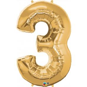 Number 3 Gold Super Shape Foil Balloon