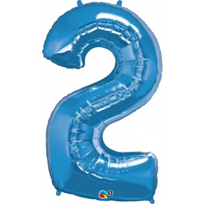 Number 2 Blue Super Shape Foil Balloon