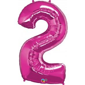 Number 2 Hot Pink Super Shape Foil Balloon