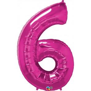 Number 6 Hot Pink Super Shape Foil Balloon