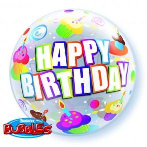 Cupcake 'Happy Birthday' Bubble Balloon