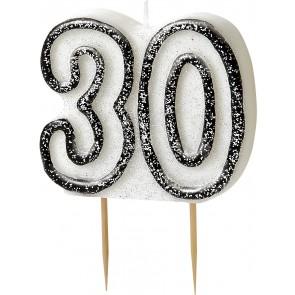 Age 30 Black & Silver Glitz Candle