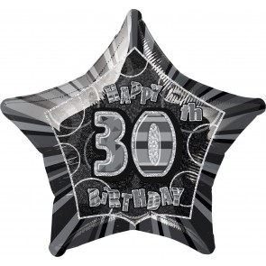 Age 30 Black & Silver Glitz Foil Balloon
