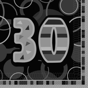 Age 30 Black & Silver Glitz Paper Napkins