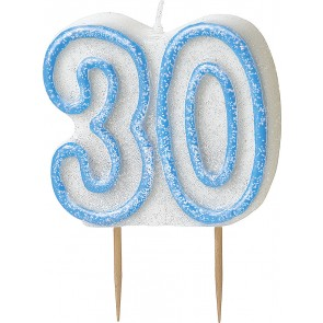 Age 30 Blue Glitz Candle