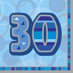 Age 30 Blue Glitz Paper Napkins