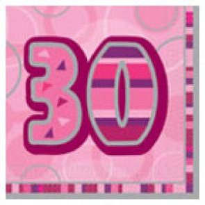 Age 30 Pink Glitz Paper Napkins