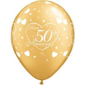 50th Anniversary Little Heart Latex Balloons