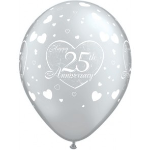25th Anniversary Little Heart Latex Balloons