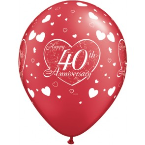 40th Anniversary Little Heart Latex Balloons